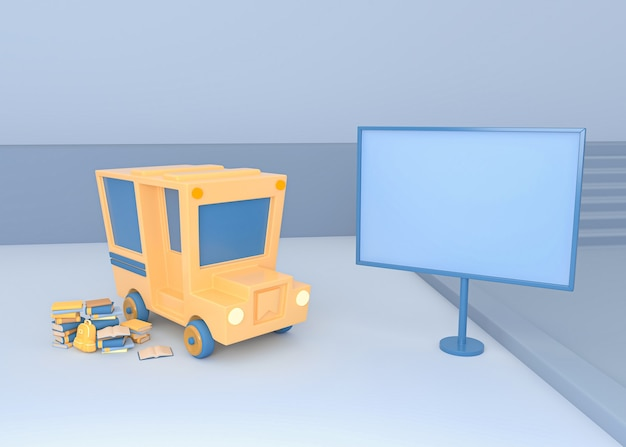 3d illustration. school bus with a blank sign board. back to school