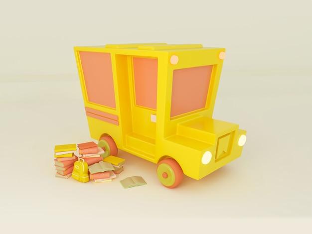 3d illustration. school bus with school supplies. back to school