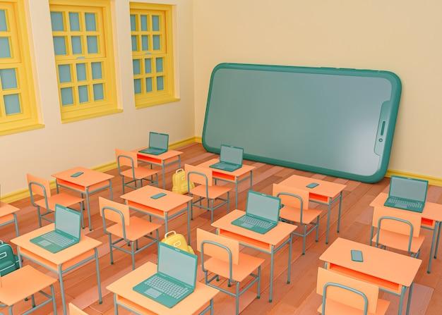3d 그림. 스마트 폰 앞에 학교 교실. e- 러닝 및 온라인 교육 개념