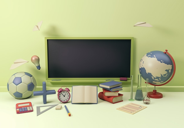 3d illustration. school supplies and items with a black empty chalkboard. back to school