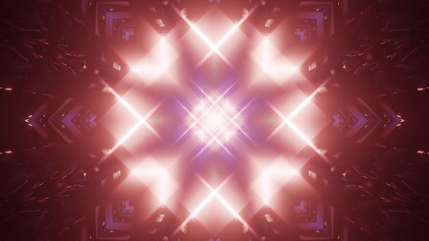 3d иллюстрация научно-фантастический абстрактный визуальный фон видение из темного круглого туннеля с световым отверстием с орнаментом в форме цветка звезды и размытым эффектом