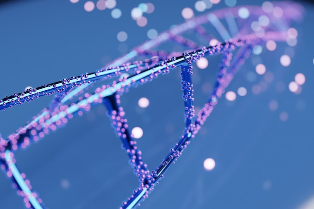 3d illustration of a  science template, abstract background with a dna molecules.