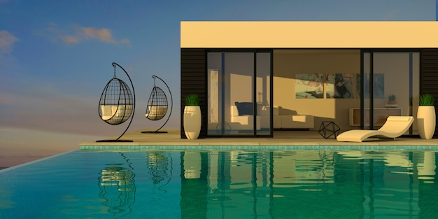 3d illustration. sea modern villa with pool and sunbeds. blue water. resort or hotel