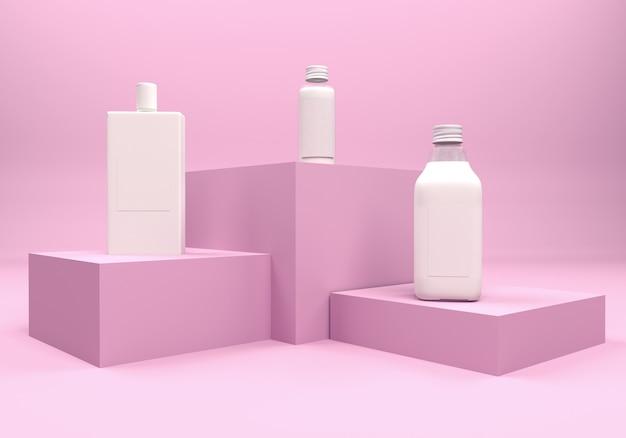 3d illustration. set of bottles on a pedestal