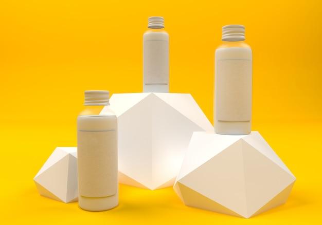 3d иллюстрации. набор бутылок на постаменте