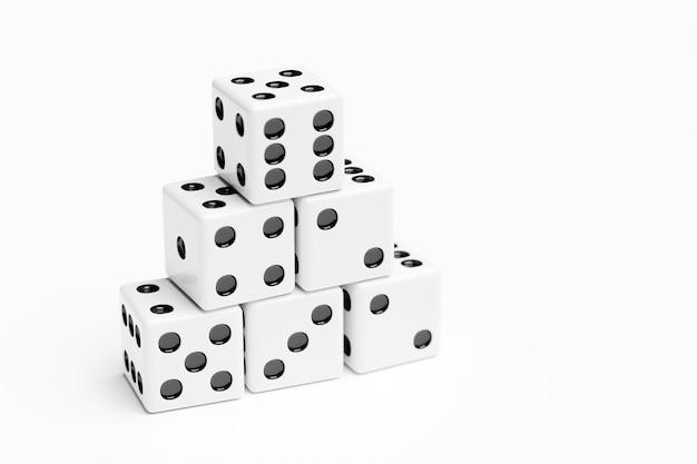 ゲームのサイコロの3dイラストセット、白い背景で隔離。 1から6までのサイコロのデザイン。