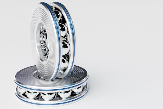 절연 흰색 배경에 롤러 베어링의 3d 그림 집합입니다. 금속 자동차 기술 배경입니다. 자동차의 일부