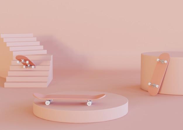 3dイラストレーション。 3枚のスケートボードのセット。