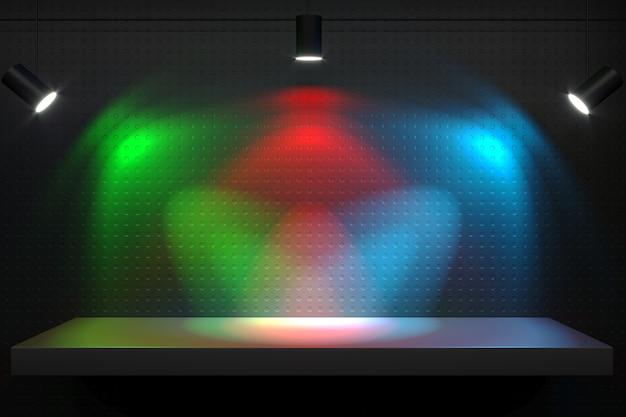 3d иллюстрации. полка с лампами синий зеленый красный. светодиоды и световой спектр
