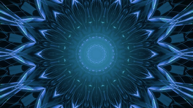 3d illustration of shiny blue neon decorative illumination in shape of flower for abstract futuristic background designs