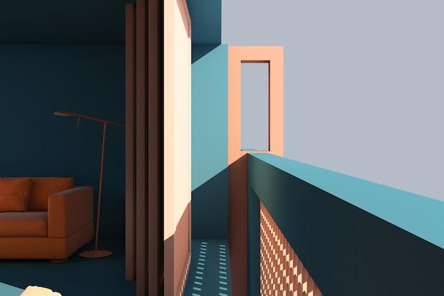 발코니 디자인을 보여주는 3d 그림