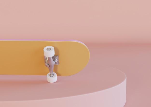 3dイラストレーション。パステルカラーのスケートボード
