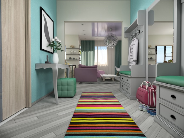 3d illustration of small apartments in pastel colors.