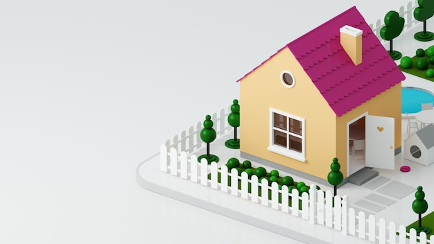 3d illustration. a small toy dollhouse on the street with a fence. hut small house
