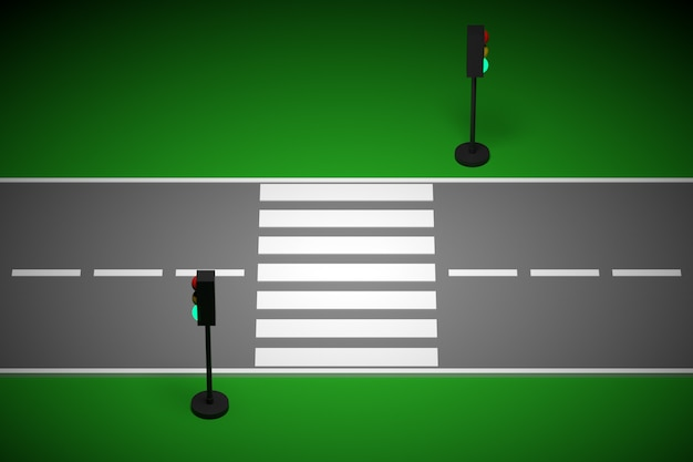 3d illustration of a small urban stretch of road with a motor road and markings, traffic light.