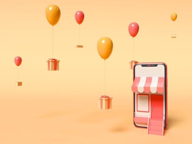 3d 그림. 하늘에 떠있는 동안 풍선에 묶인 스마트 폰 및 선물 상자. 온라인 쇼핑 및 서비스 개념 제공.
