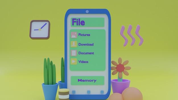 3dイラストスマートフォンといくつかのオブジェクトと植物