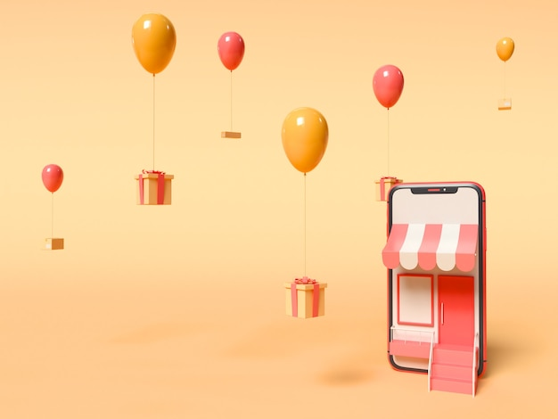 3d illustration. smartphone and gift boxes tied to balloons while floating in the sky. online shopping and deliver service concept.
