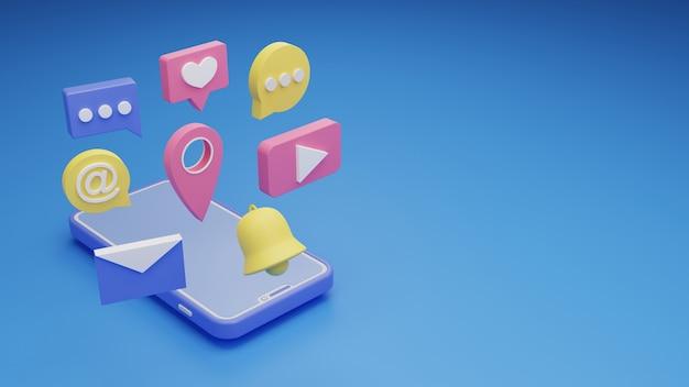 3d иллюстрации смартфон социальные сети значок символ фон копией пространства