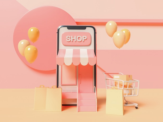3dイラスト。抽象的な背景にショッピングカートと紙袋を備えたスマートフォン。オンラインショッピングのコンセプト。