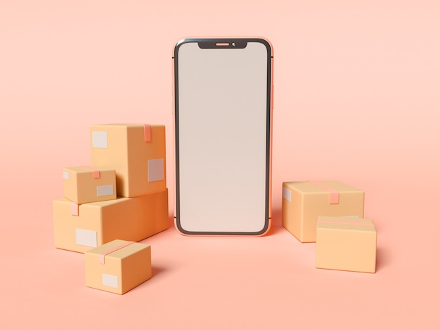 3d 그림. 빈 흰색 화면 및 골 판지 상자와 스마트 폰입니다. 전자 상거래 및 배송 서비스 개념.