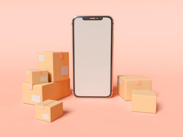 Illustrazione 3d. smartphone con schermo bianco vuoto e scatole di cartone. e-commerce e concetto di servizio di spedizione.