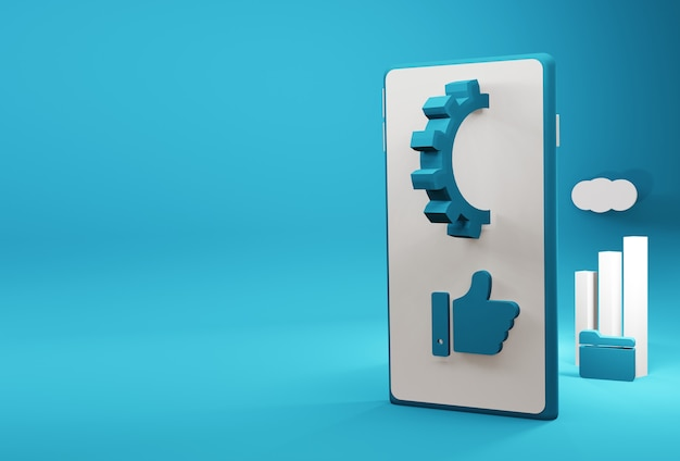 Смартфон 3d иллюстрации с элементами маркетинга