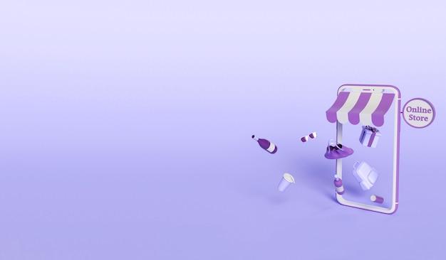 3d 그림. 제품이 화면에서 나오는 스마트 폰. 온라인 쇼핑 및 전자 상거래 개념.