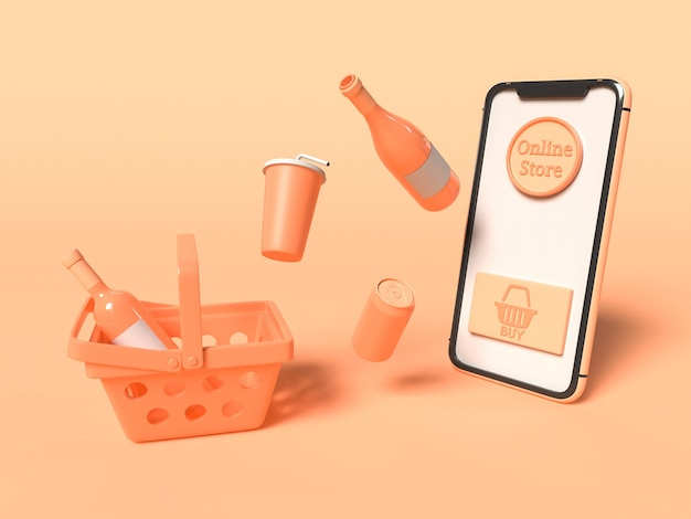 3dイラスト。ショッピングカートと製品を備えたスマートフォン。オンラインショップとテクノロジーコンセプト。