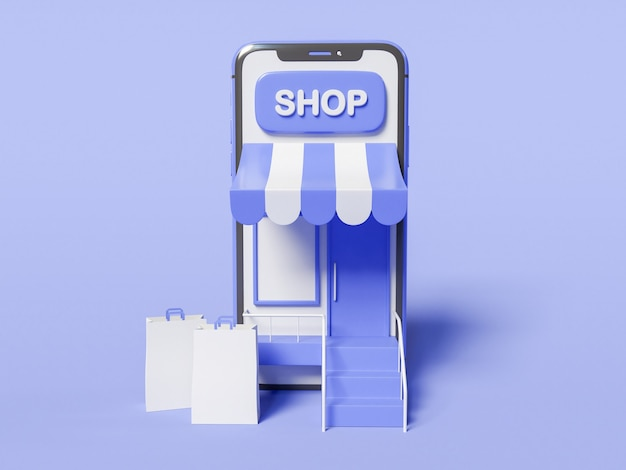 3d illustration. smartphone with a store on screen and with paper bags. shop online concept.