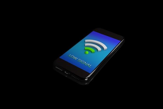 3d иллюстрации. смартфон с значком wi-fi. концепция мобильной сети. изолированный черный фон