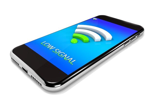3d иллюстрации. смартфон с значком wi-fi. концепция мобильной сети. изолированный белый фон
