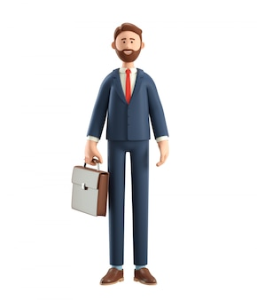 3d illustration of smiling bearded businessman in suit with bag.