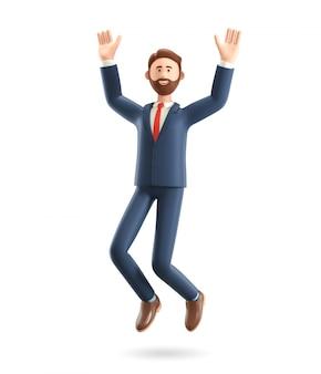 3d illustration of smiling businessman jumping celebrating success.