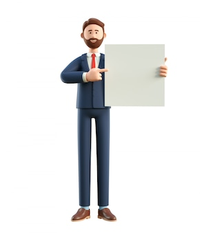 3d illustration of smiling happy businessman holding white blank board.