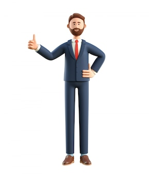 3d illustration of smiling happy businessman with thumb up.