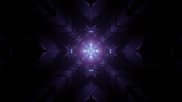 3d illustration of snowflake shaped looping kaleidoscope ornament in dark tunnel as abstract background