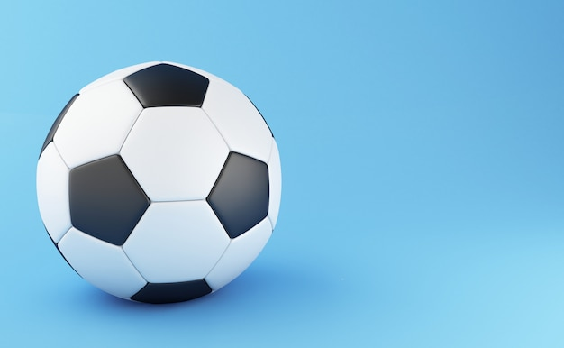 3d illustration. soccer ball on light blue background. sports concept.