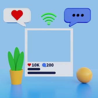 3d illustration social media mock up on blue background