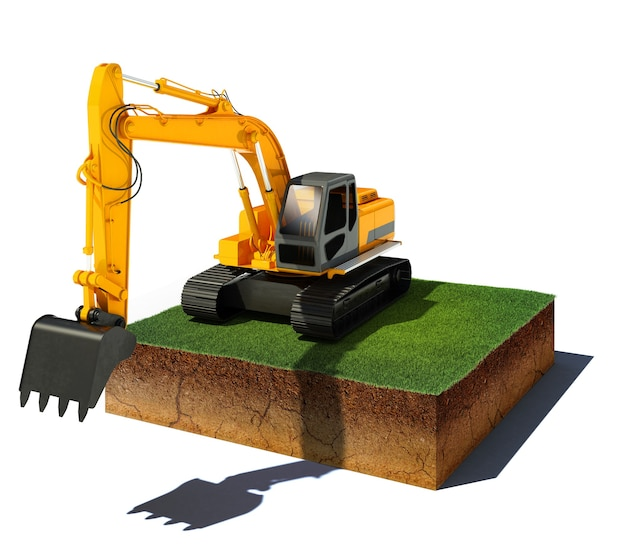 3d illustration of soil cutaway aerial view dirt cube with excavator isolated