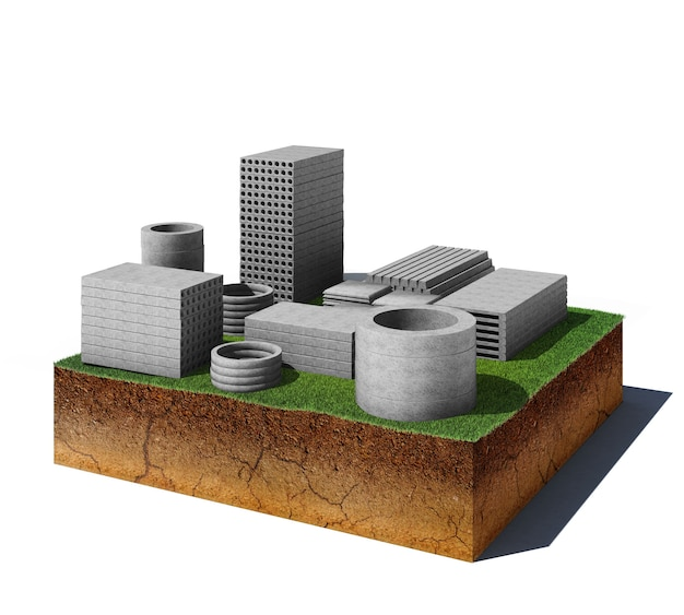 3d illustration of soil cutaway earial view dirt cube with concrete panels isolated