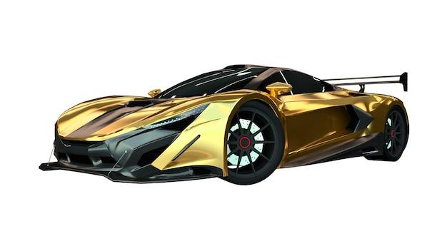 3d иллюстрации. спортивный золотой автомобиль на белом фоне. 3d-рендеринг.