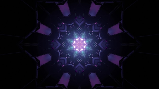 3d illustration of star shaped ornamental pattern glowing in dark tunnel as abstract background