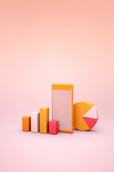 3d illustration of statistics and diagrams on a light isolated background. 3d graphics and statistics. orange charts and graphs. reports, analyses and statistics. 3d graphics
