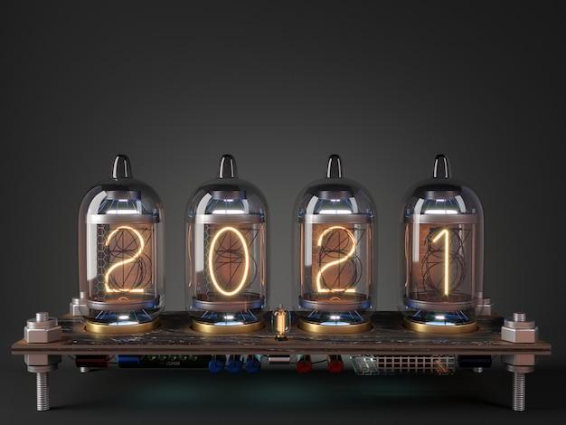 3dイラスト。スチームパンクな時計管プロセッサーのカレンダーと日付2021年新年
