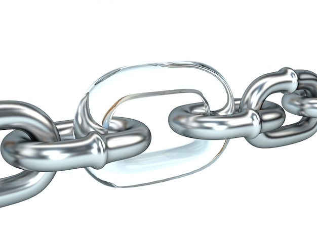 3d illustration of steel chain with a weak link in the glass.