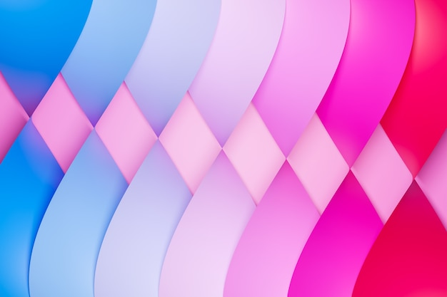 3d illustration of a stereo strip of different colors.colorful  geometric stripes similar to waves.