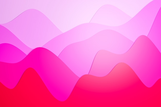 3d illustration of a stereo strip of different colors. geometric stripes similar to waves. abstract pink and purple  neon glowing crossing lines pattern