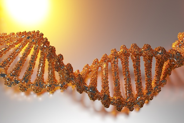 3d illustration of a stereo strip of different colors. geometric stripes similar to waves. simplified gold  dna line on white isolated background
