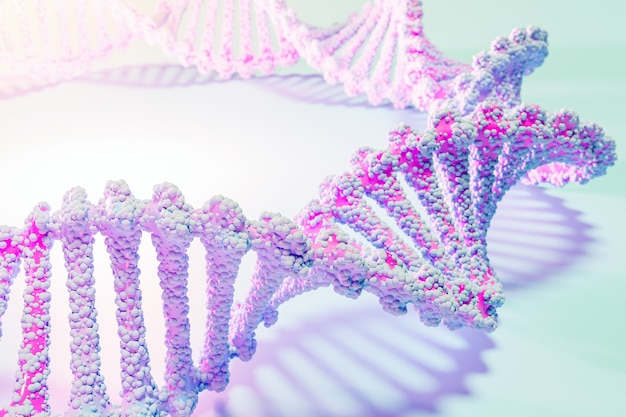 3d illustration of a stereo strip of different colors. geometric stripes similar to waves. simplified pink and blue  dna line on white isolated background Premium Photo